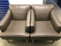 2 real 100% leather single armchair sofas