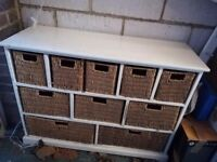 Table unit with wicker draws