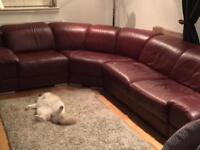 Large leather corner couch