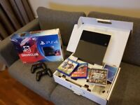 PLAYSTATION 4 BLACK 500GB EXCELLENT CONDITION + 2 DUAL SHOCK 4 CONTROLLERS + 3 GAMES