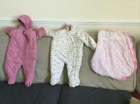 Baby snowsuits and sleeping bag