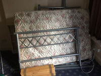 GREY METAL DOUBLE BED WITH MATTRESS