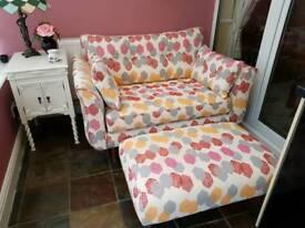 DFS Geometric Print Cuddle Sofa & Pouffe