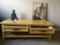 Solid Wood Coffee Table & Wood TV Stand & Large round mirror