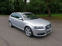 AUDI A3 2.0 FSI S LINE 3 DOOR (STUNNING MINT CONDITION, MOT'D JULY 19, FSH, COMPLETELY ORIGINAL CAR)