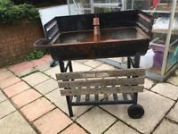 Bbq with wooden part