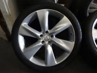 "VERY RARE SET GENUINE NISSAN 21"" 5 STUD ALLOYS WITH GOOD 295 35 21 TYRES JUST BN NEWLY REFURBD"