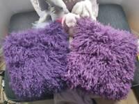 Two purple Mongolia cushions