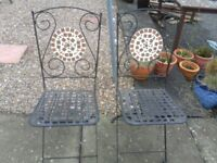 2 metal patio chairs
