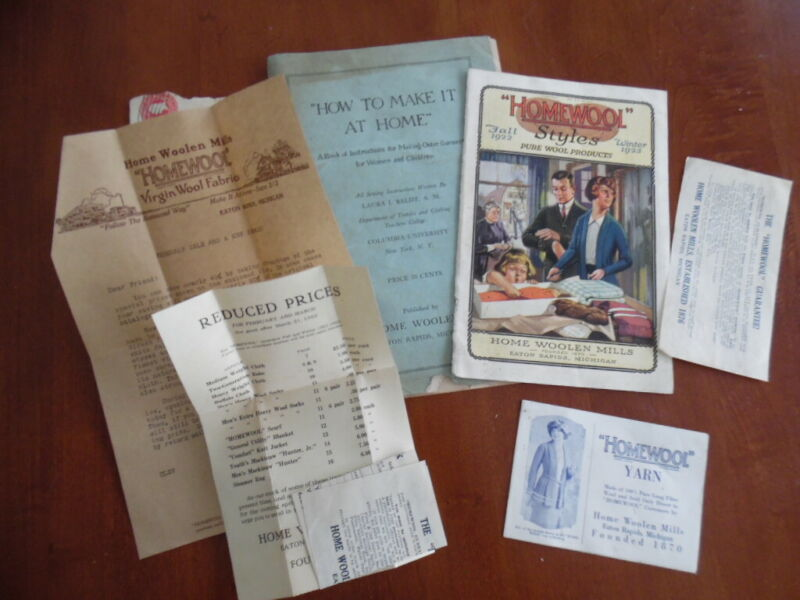 1922 Home Woolen Mills Homewool Wool Coat Blanket Catalog Ephemera lot Vintage