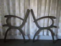 PAIR OF VINTAGE IRON BENCH ENDS