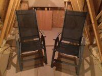 Metal framed reclining deck chairs