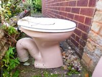 PINK LOW LEVEL 1970'S TOILET PAN & CISTERN
