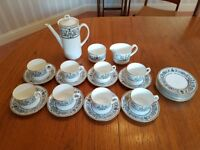 1966 Royal Worcester Padua Coffee Set. Mint Condition. Contemporary pattern.