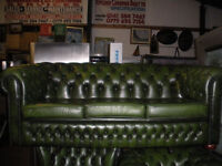 Green original style chesterfield suite. 3 Pieces