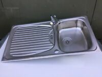 Stainless steel 1 & 1/2 bowl kitchen sink drainer & tap 95cm x 50.5