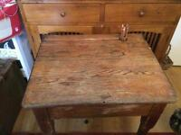 "Children's Vintage Desk Solid Wood, height 28"", width 24"", depth 20""."