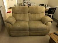 Two seater, manual reclining sofa