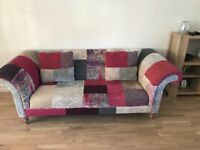 DFS grey, pink & purple patchwork print 3 seater sofa, 2x armchairs & footstool in perfect condition