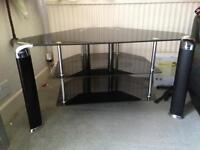 Black and silver glass TV. stand