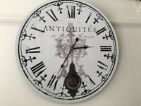 Attractive Extra Large Antique Style Wall Clock Distressed Pendulum Clock