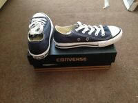 Brand new in box Navy Blue size 11 kids Converse trainers