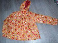 Flowered raincoat 3/4 yrs