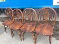Set of 4 vintage oak wheel back dining /kitchen chairs