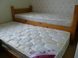 3ft single bed and under bed trundle plus mattresses
