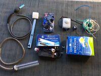 Fish Tank Aquarium Bundle Of Accessories Air Pump Power Head Cleaners Light Unit