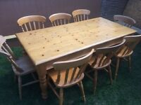 Charming farmhouse pine dining table,6 ft L with 8 chairs,vgc