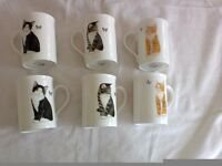 Cat Mugs, Set of 6, Fine Bone China. Brand New still in box. **Ideal Xmas Present**