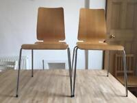 2 stylish 60's style design plywood chairs