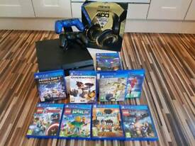 PS4, headset, 2 controllers, double charging station, 9 games