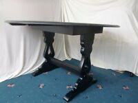 SOLID WOODEN OVAL DROP LEAF BLACK DINING TABLE