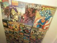 Marvel Large canvas and 5 vintage comics