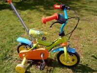 Small bike with stabilisers and rear steering handle - ideal 1st bike. Collection Ahoghill