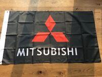Mitsubishi Evo lancer GTO 3000gt FTO shogun l200 Tommi Makinen WRC workshop flag banner