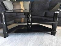 Black chrome and glass TV media corner unit