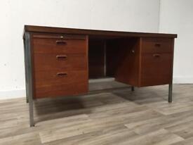 Retro Herbert Berry Lucas teak desk designer 1970s mid century modern