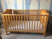 Solid pine adjustable cot bed