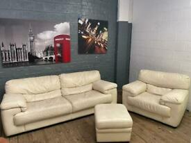 REAL LEATHER SOFA SET 3+1 SEATER AND STORAGE BOX