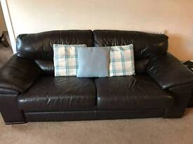 3 seat, 2 seat leather sofa with a little pouffe
