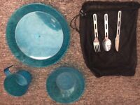 Camping plate, cup and cutlery set in blue