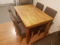 Solid wood IKEA dining table & 4 chairs