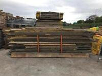 Wooden scaffold boards used