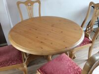 Round pine dining table with 4 matching chairs
