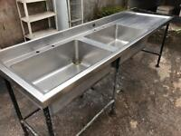 Commercial stainless steel double basin sink