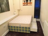 Small double bed + 4 large drawers + bed sheet & protector