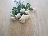 12 White roses - plastic